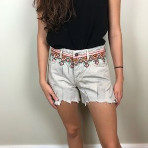 Free People Embroidered Cut Off Borderline Shorts